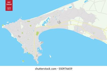 Vector color map of Dakar, Senegal. City Plan of Dakar. Vector illustration