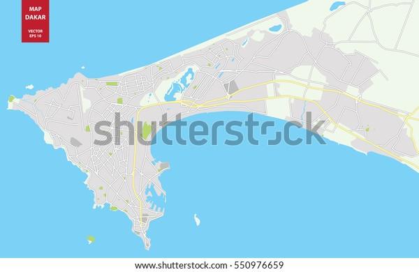 Vector Color Map Dakar Senegal City Stock Vector (Royalty Free ... on