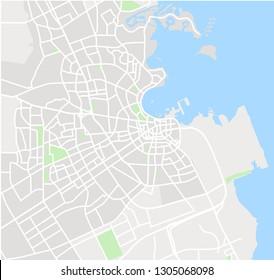 Vector color map of  Doha, Qatar. City Plan of Doha. Vector illustration