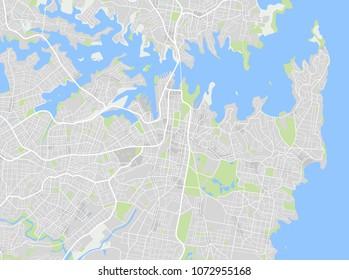 Vector color map of Downtown Sydney, Australia. Vector illustration