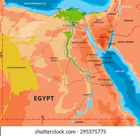 Vector color map of Egypt with capital Cairo, important cities and islands. All objects are located on separate layers.