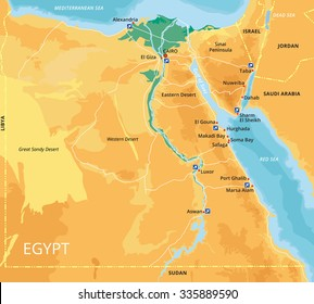 Vector color map of Egypt with capital Cairo, important cities and islands. All objects are located on separate layers. Elements Of This Image Are Furnished By Nasa.