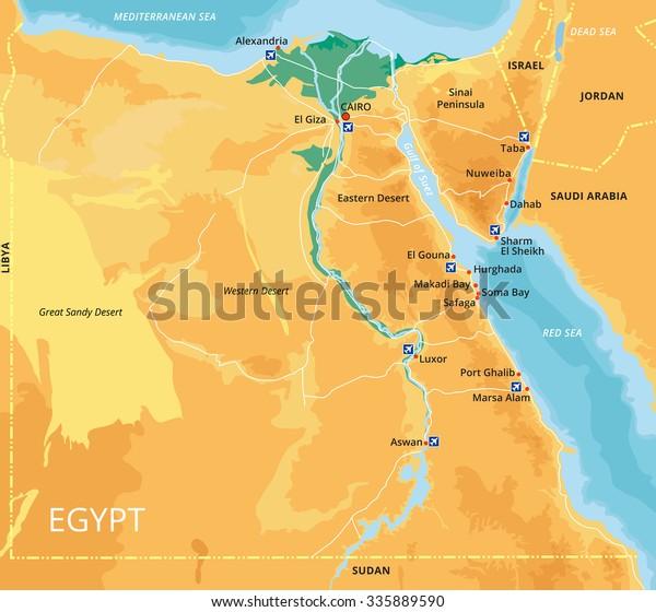 Vector Farve Kort Over Egypten Med Lagervektor Royaltyfri 335889590
