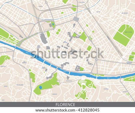 Vector Color Map Florence Italy All Stock Vector (Royalty Free ...