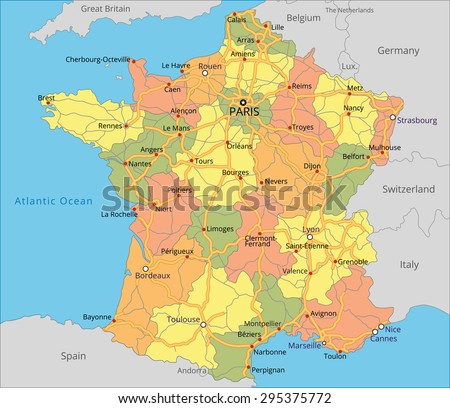 Map Of France And Belgium With Cities.Vector Color Map France Important Cities Stock Vector Royalty Free