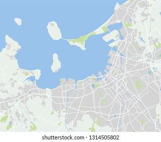 Vector color map of  Fukuoka, Japan. City Plan of Fukuoka. Vector illustration