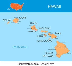 Vector color map of Hawaii. All objects are located on separate layers.