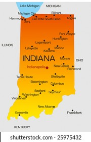 Vector color map of Indiana state. Usa