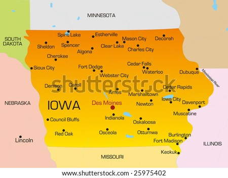 Vector Color Map Iowa State Usa Stock Vector (Royalty Free) 25975402 ...