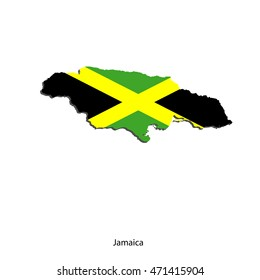 Vector color map of Jamaica with flag inside on a white background