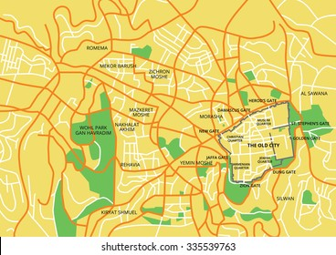 Vector color map of Jerusalem. All objects are located on separate layers. Elements of this image are furnished by NASA.