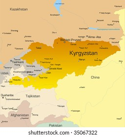 Vector color map of Kyrgyzstan country