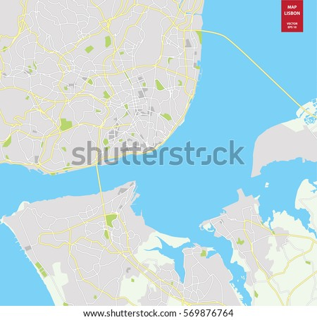 Vector Color Map Lisbon Portugal City Stock Vector (Royalty Free ...