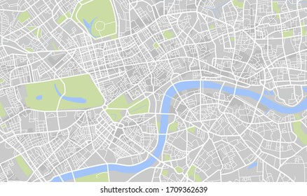 Vector color map of London, United Kingdom. City center