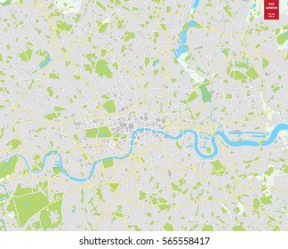 Vector color map of  London, United Kingdom. City Plan of  London. Vector illustration