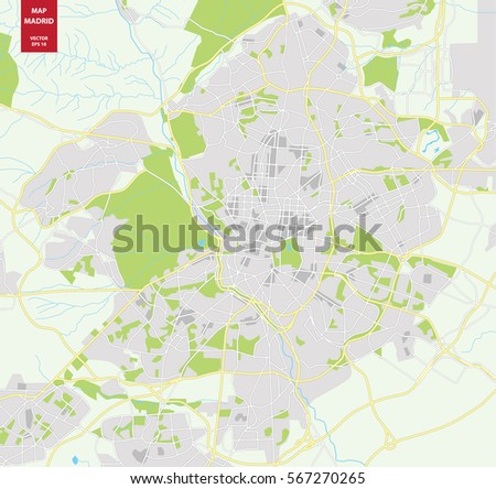 Vector Color Map Madrid Spain City Stock Vector (Royalty Free ...