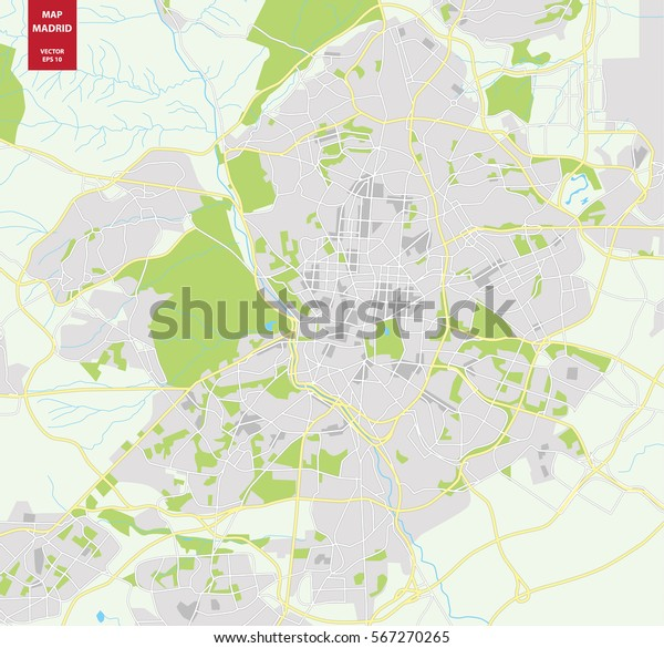 Vector Color Map Madrid Spain City Stock Vector (Royalty ...