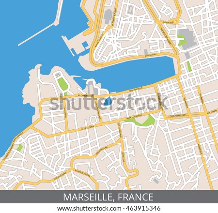 Marseille On Map Of France.Vector Color Map Marseille France All Stock Vector Royalty Free