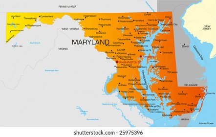 Vector color map of Maryland state. Usa