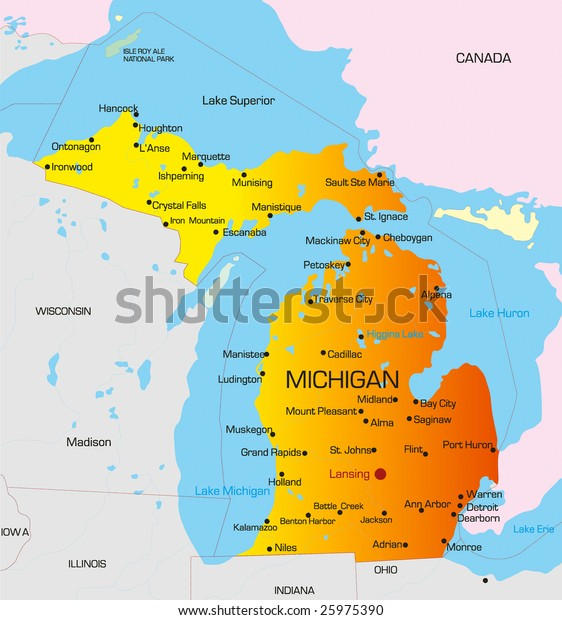 Vector Color Map Michigan State Usa Stock Vector Royalty Free