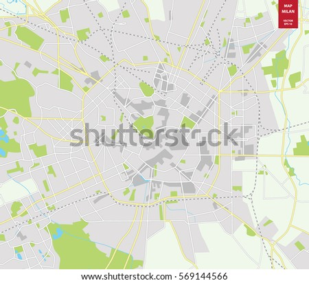 Vector Color Map Milan Italy City Stock Vector (Royalty Free ...