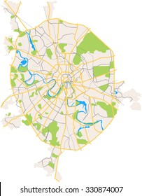 Vector color map of Moscow. All objects are located on separate layers.