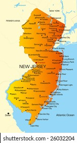 Vector color map of New Jersey state. Usa