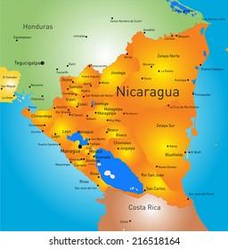 Nicaragua Map Images, Stock Photos & Vectors | Shutterstock
