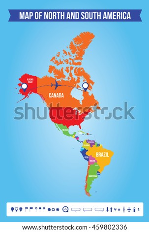 Color Map Of North America.Vector Color Map North South America Stock Vector Royalty Free