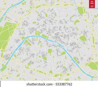 Vector color map of  Paris; France. City Plan of  Paris. Vector illustration