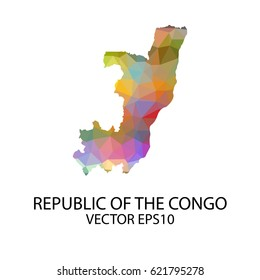 Vector color map of republic of the congo, Vector illustration eps 10.