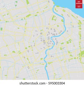 Vector color map of  Shanghai; China. City Plan of Shanghai. Vector illustration