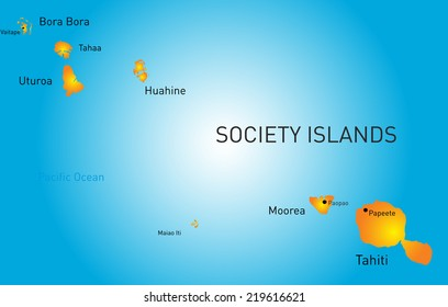 Vector color map of society island