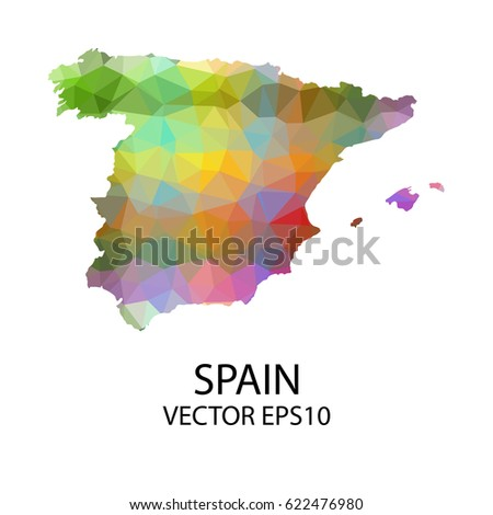 Map Of Spain To Color.Vector Color Map Spain Vector Illustration Stock Vector Royalty