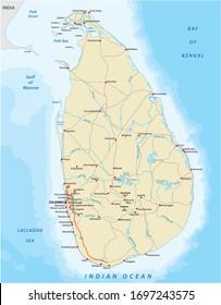 Image vectorielle carte des couleurs du pays sri lankais avec les villes et les routes importantes