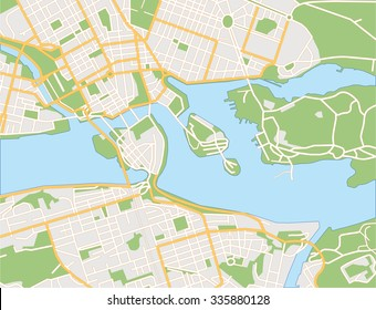 Vector color map of Stockholm, Sweden. All objects are located on separate layers.