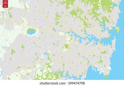 Vector color map of  Sydney, Australia. City Plan of Sydney. Vector illustration