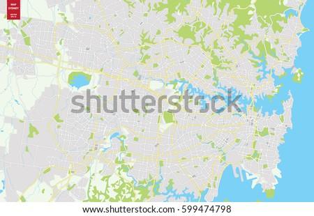 Sydney Australia Map City.Vector Color Map Sydney Australia City Stock Vector Royalty Free
