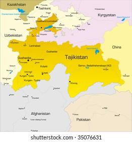 Vector color map of Tajikistan  country