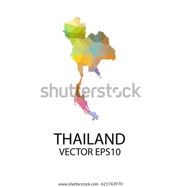 Vector Color Map Thailand Vector Illustration Stock ...