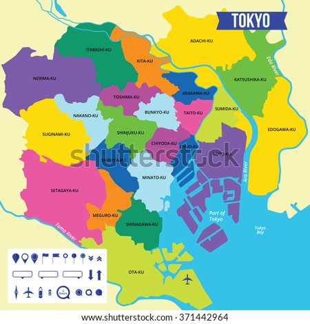 Vector Color Map Tokyo Capital Japan Stock Vector Royalty Free
