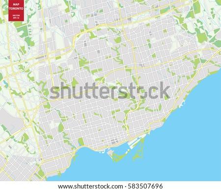 Vector Color Map Toronto Canada City Stock Vector Royalty Free