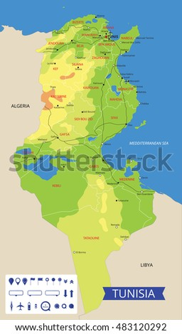 Vector Color Map Tunisia Important Cities Stock Vector (Royalty Free ...