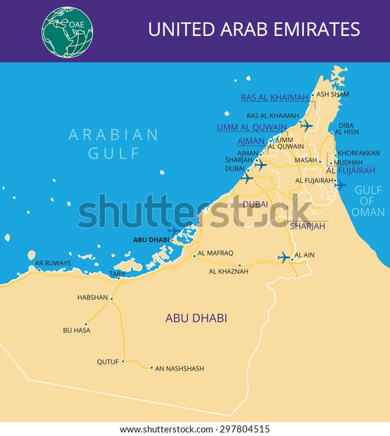 Vector Color Map United Arab Emirates Stock Vector (Royalty ...