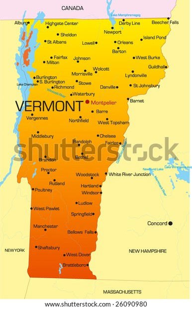 map of vermont state Vector Color Map Vermont State Usa Stock Vector Royalty Free map of vermont state