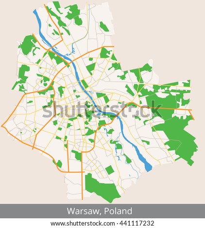 Capital Of Poland Map.Vector Color Map Warsaw Capital Poland Stock Vector Royalty Free