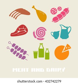 Vector color meat and dairy icon. Food simple sign for menu and market. Color illustration for print, web