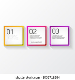 vector color modern progress paper banners set with three options or steps can be used for business infographics, numbered banners , graphic or website layout