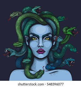 Vector color mythology Medusa Gorgon woman head with snakes Illustration on Dark Blue Background