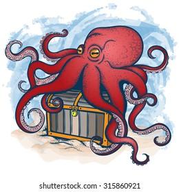 Vector Color Octopus Treasure Illustration